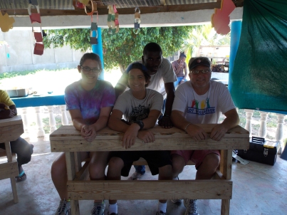 One of our teams that built this table / bench they are sitting on