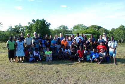 Our group of 25 mixed with the orphans, kitchen help, house mom, and Ludner's family