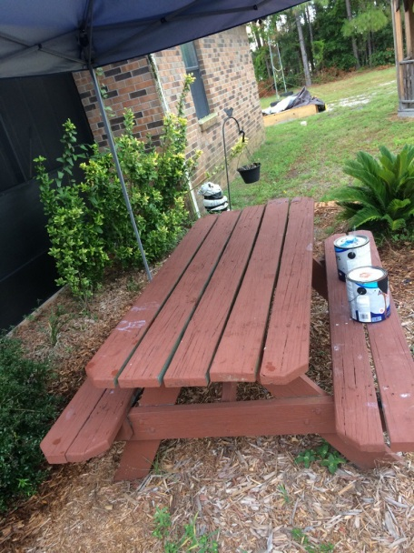 painting the bench