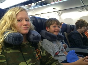 Julia and Jack on our flight from Houston to Denver.