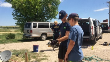 Copper teaching Jack how to cut wood