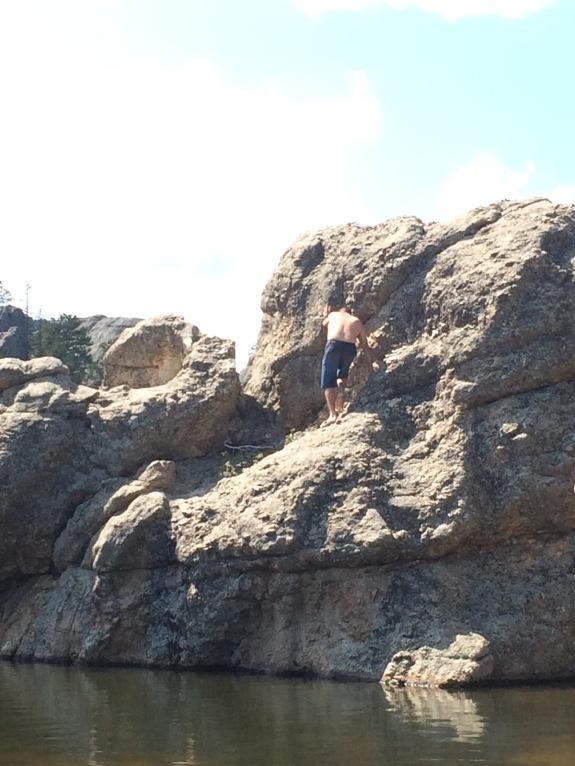 climbing up to jump